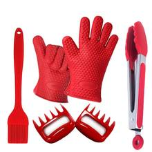 PFOA FREE Hot Reusable Non Stick  Kitchen Silicone Brush Spatule Tong Glove Set of 5