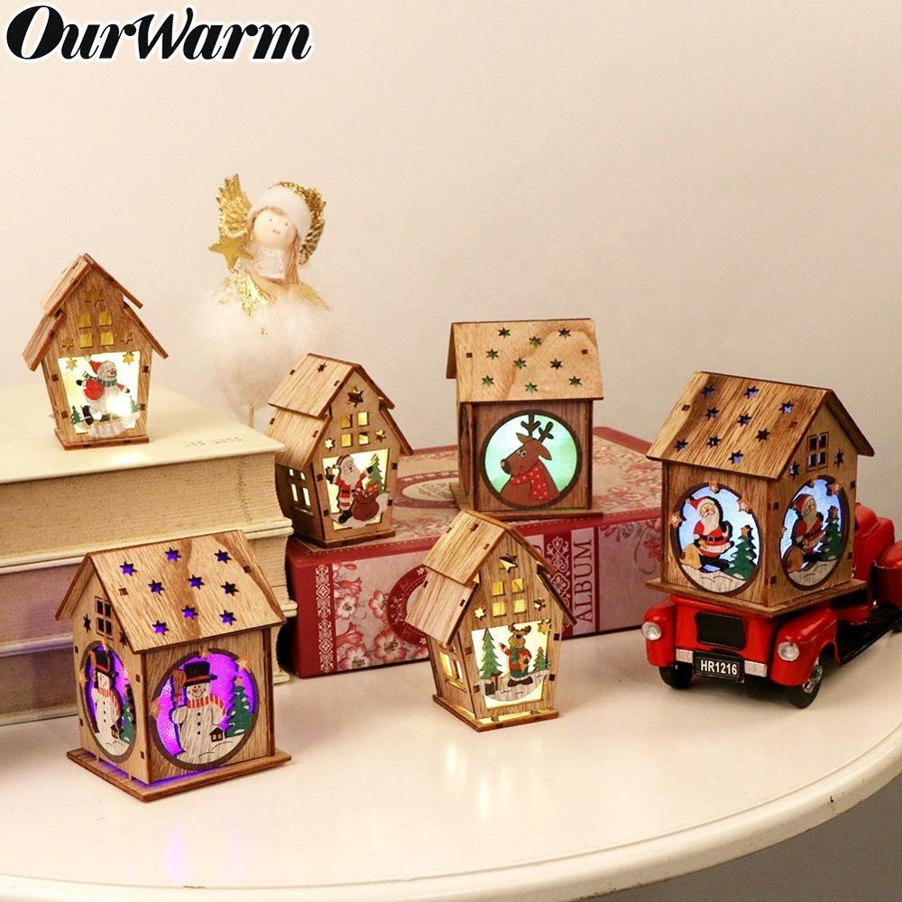 Ourwarm Christmas Decoration Led Light DIY Wood House Hanging Ornaments