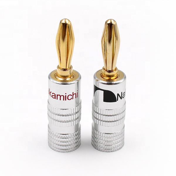 Nakamichi spina a banana 4 millimetri in oro 24k audio speaker wire cable connettori per hifi logo personalizzato lavorabile