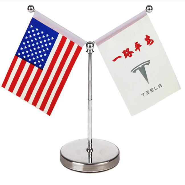 custom usa germany country national digital printing fabric Y straight shape stand desk desktop table flag