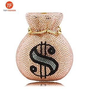 New Designed Luxury Women Evening Pouch Money Bags US Dollar Diamonds Crystal Clutches party purses