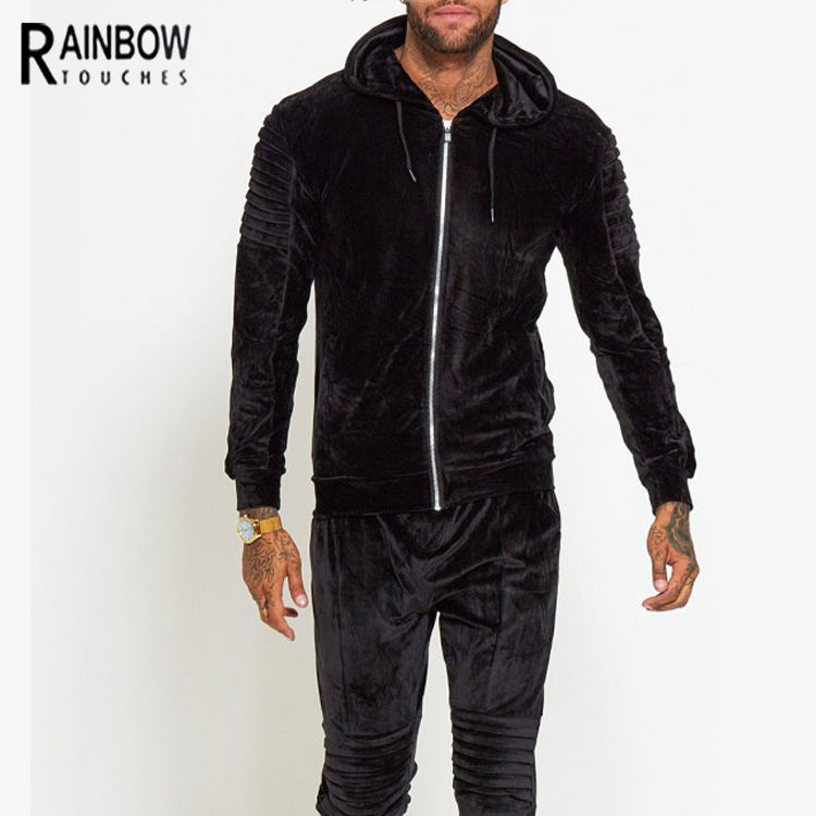 Wholesale Custom Velour Velvet Skinny Tracksuit Men Plain Slim Fit Hoodies