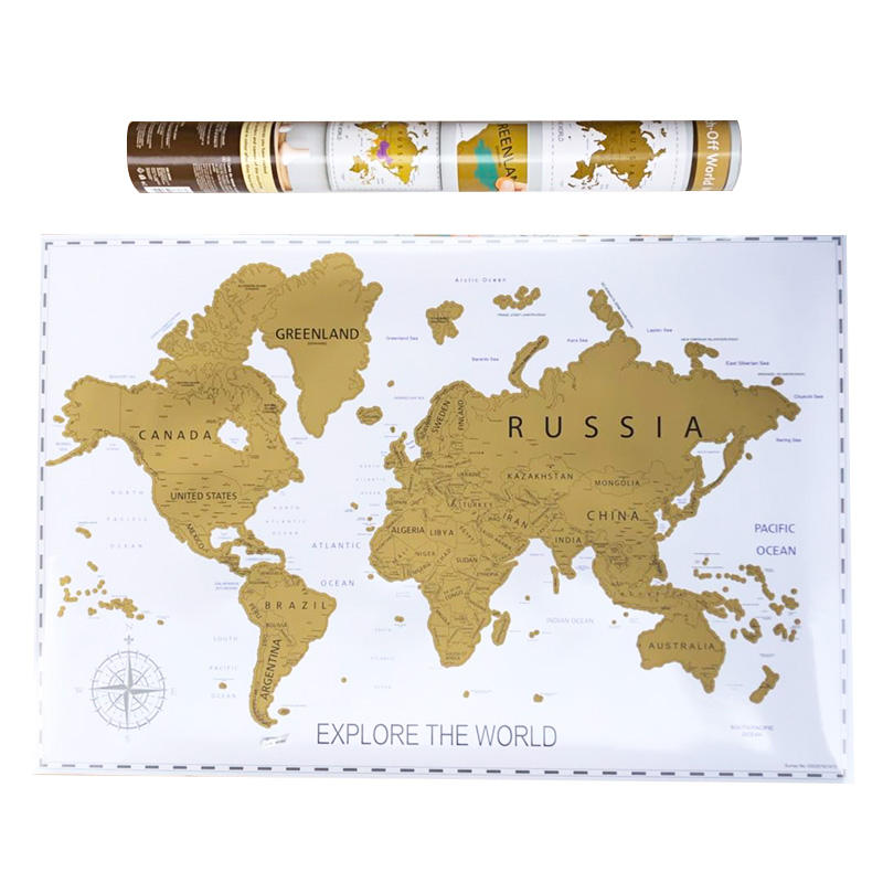 hot selling customized deluxe black scratch off world map gift world map with US States and Canada State