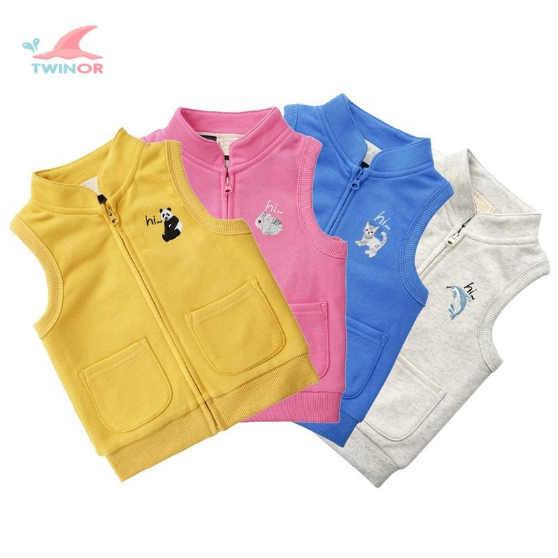 Wholesale custom chest animal embroidery thick cotton plain baby winter vests waistcoats