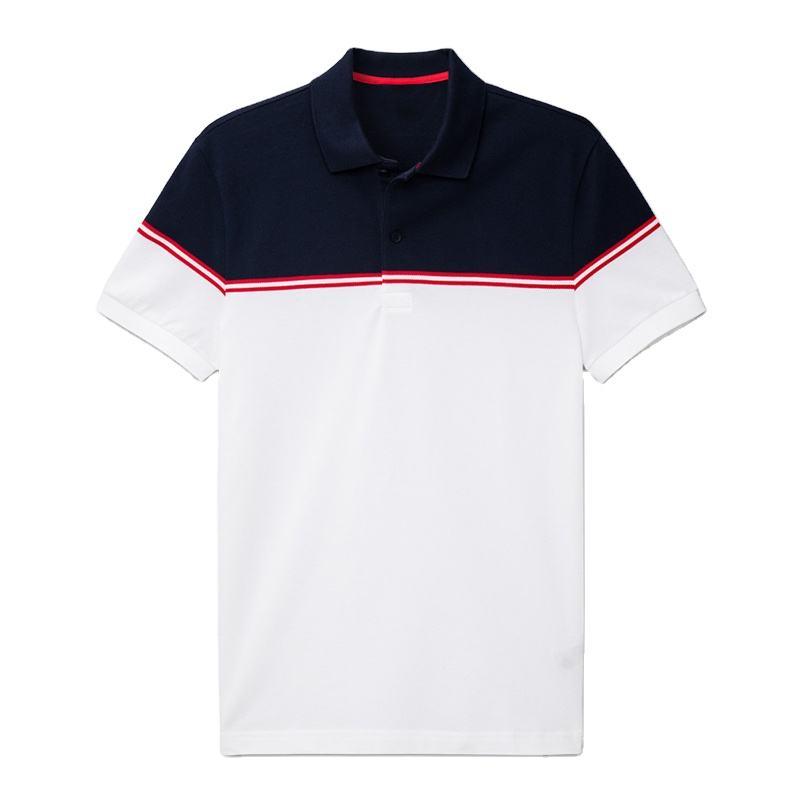 OEM Supplier British Metropolitan Style Two Color Tone Short Sleeve Polo T Shirt for Men