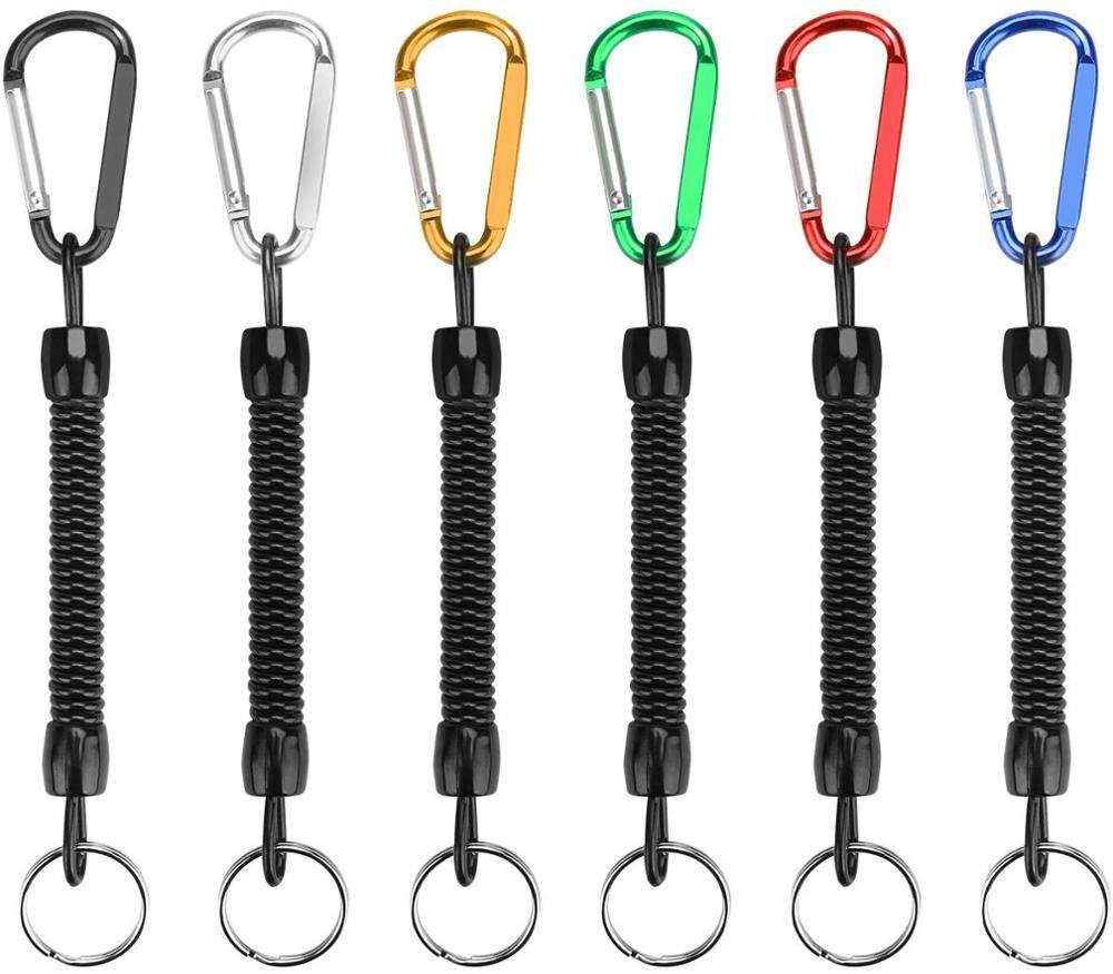 Stretchable Spring Coil Keyring Spiral Keychain Theftproof Bracelet Rose Red