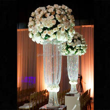 Factory price popular acrylic crystal table flower stand centerpieces for wedding deco ,gold flower holder