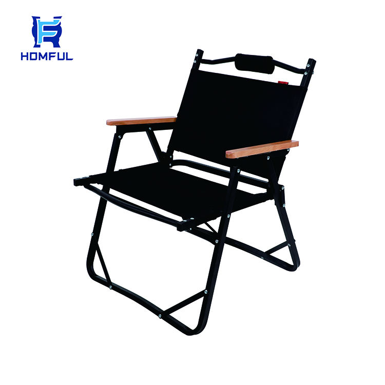HOMFUL Customized Beech Foldable Armrest Wood Chair Outdoor Camping Folding Chair