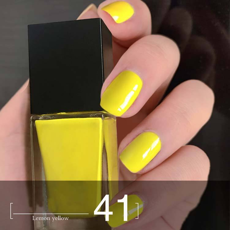 Private label oil base nail polish OEM high quality customised organic oil base durable yellow nail polish