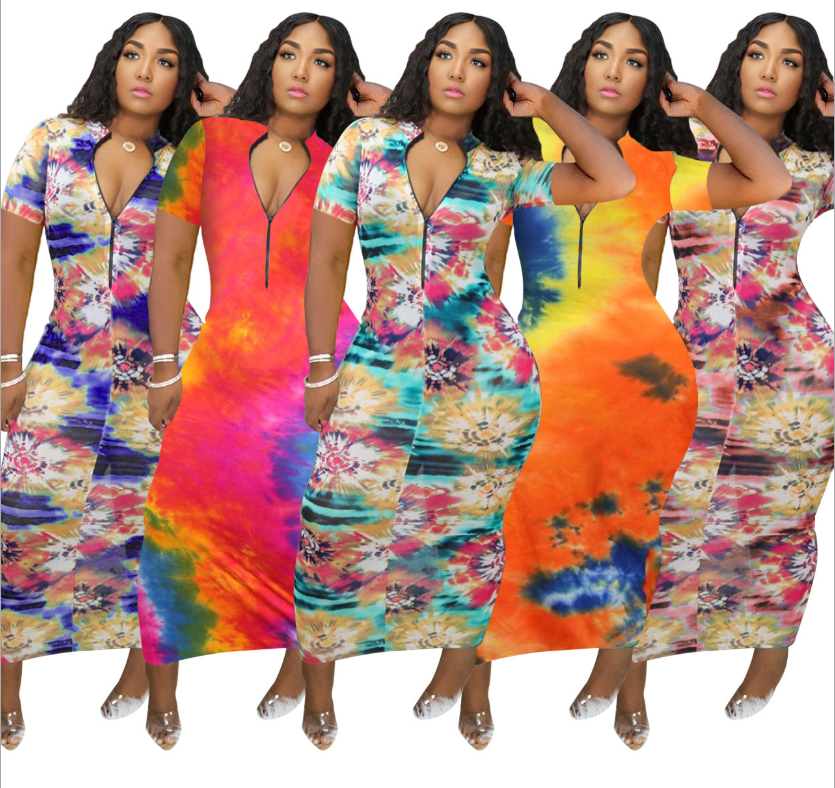 2020 hot style colorful aperture printed sexy dress zips open and closes plus size summer dresses women clothing
