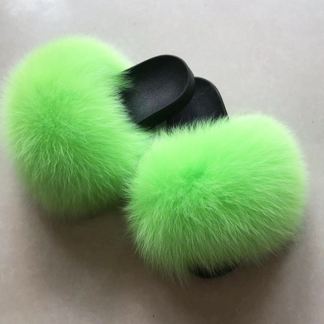 Fashionable Real Fur Fox fur outdoor warm slippers exclusively custom-made solid color foreign gas fluorescent green indoor