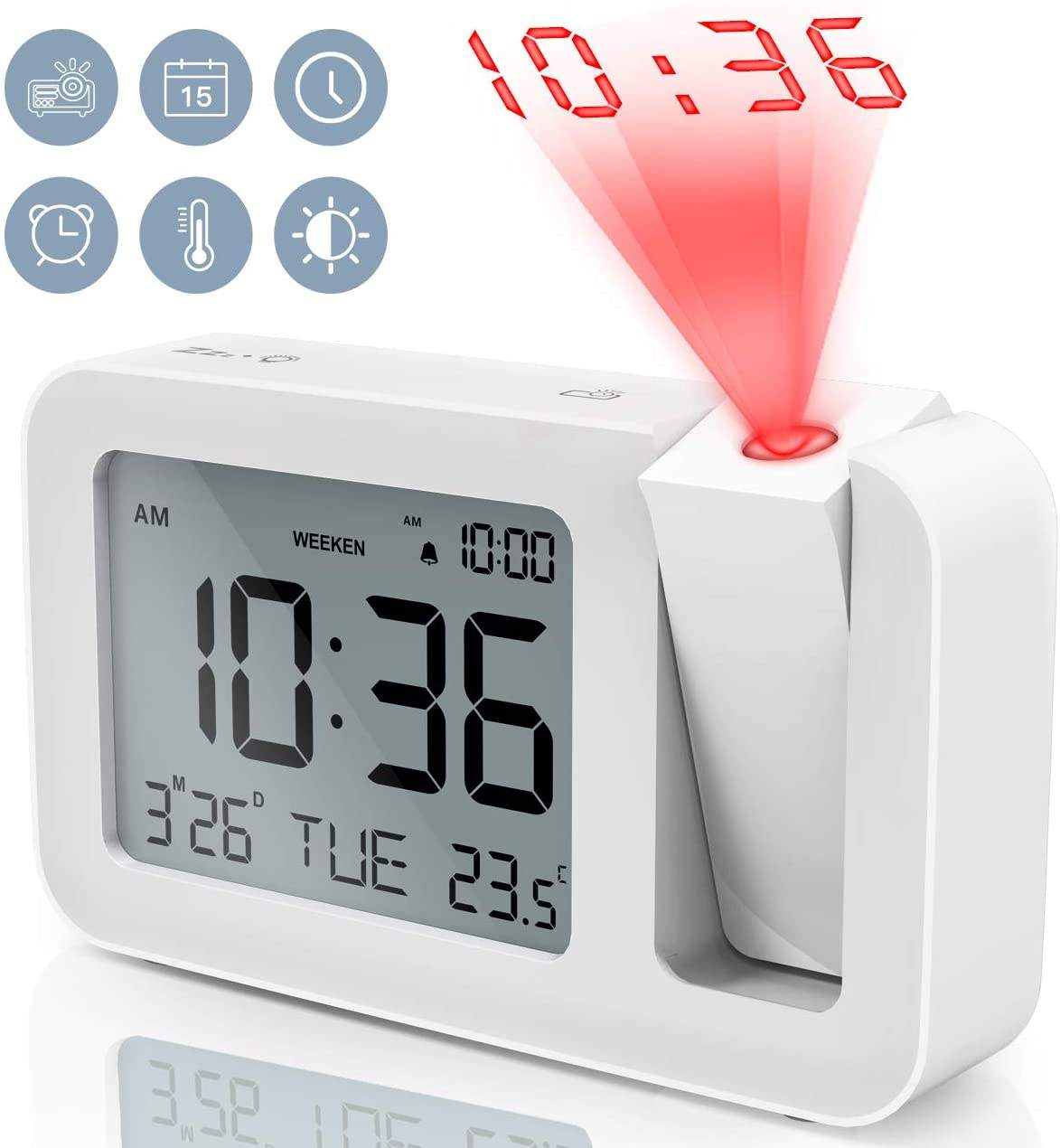 Desktop Electric Digital Projection Logo Mini Light Alarm LED Table Clock with Time Projector