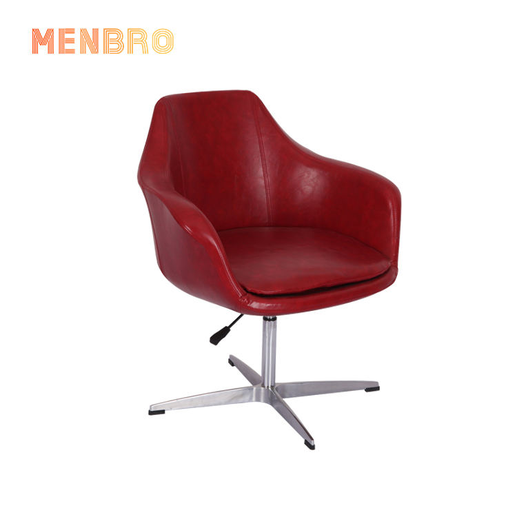 Cheap Modern Design Stainless Steel Metal Legs Leisure Armchair Restaurant Red Leather Swivel Lift Bar ChairためWaiting Room