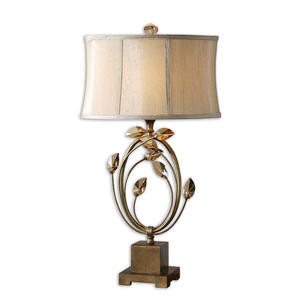 American Gold & Black Polyresin Leaf Table Lamp With Fabric Shade For Living Room Bedroom And Hotel Decoration