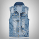 New arrival fashion night club bartender cowboy shredded holes denim jeans waistcoat