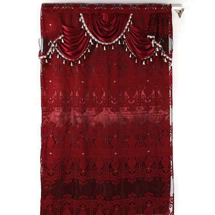Red America Style Sheer Voile Fabric Jacquard Window Curtain With Macrame Valance and Backing For Home
