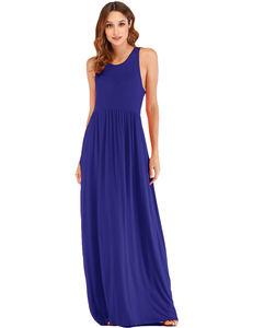 Fashion O Neck Sleeveless Ankle Length Long Camisole Evening Dress