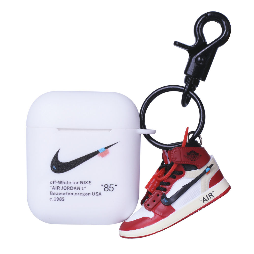 Off-White Air Jordan 85 Protective TPU Cover case Earbuds Hypebeast for Wireless Apple AirPods 1 and 2 EarPods with 3D Mini