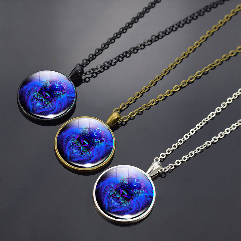 12 Constellations Glass Pendant Platinum Plated Lucky Birthday Zodiac Sign Necklace for Women and Men
