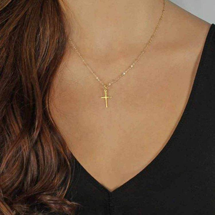 Summer Chain jesus Cross Necklace pendant Small Gold Cross Religious Necklace Jewelry