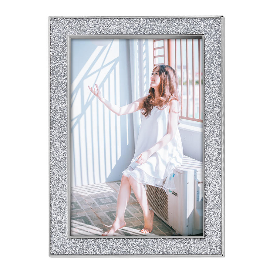 Wholesale 4x6 5x7 family decorative wall silver glitter frames sale for home decor metal sexy girl picture photo frame