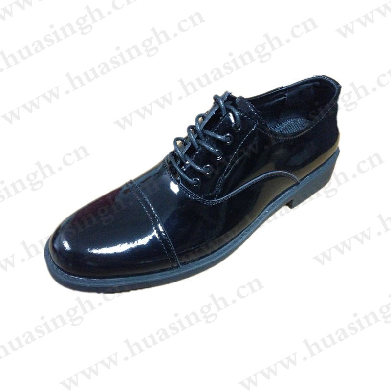 YYN, hot selling shining leather men uniform shoes lace-up navy dress shoes for parade show HSA029