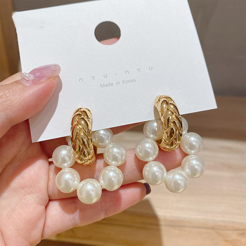 2021 trendy dangle flower earrings women pearl