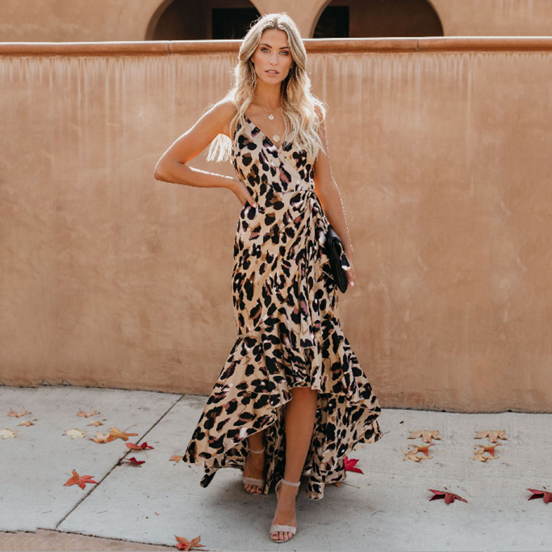 2019 Amazon explosion models Europe and the United States sexy V-neck collar leopard dress women dress