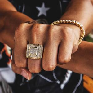 KRKC Fashion 14K Gold Plated Vintage Square Men Hip Hop Diamond Rings Jewelry Iced Out CZ Ring for Men