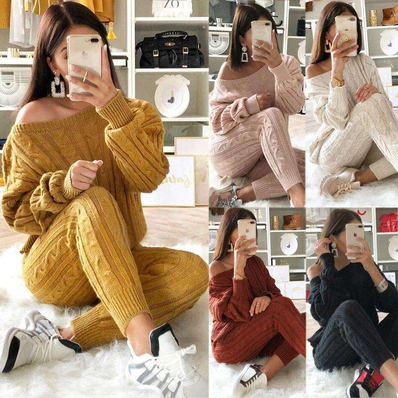 Womens Multi-color Sweater suit comfortable sweater solid color womens knit sweater sets women