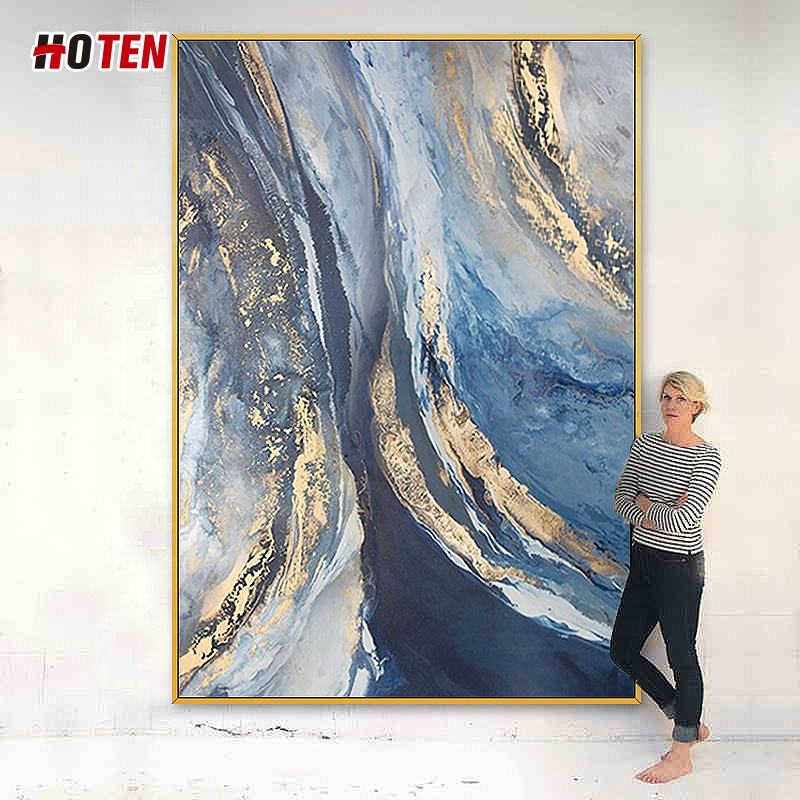 Hand-painted abstract oil painting golden light flow cloud decorative painting hotel gold foil hanging painting