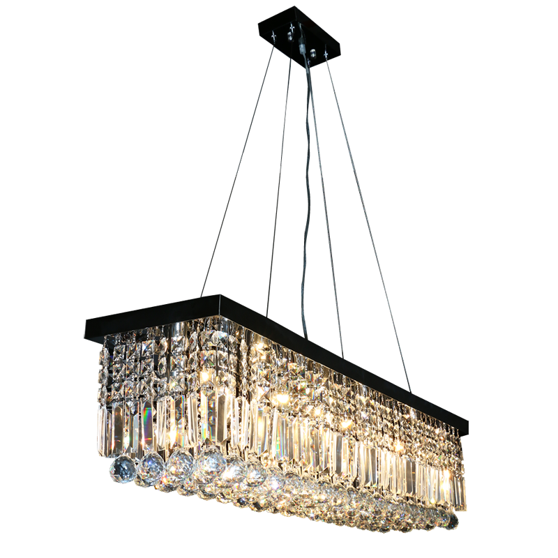 E14 Contemporary luxury rectangular chandelier crystal ceiling chandelier pendant lighting