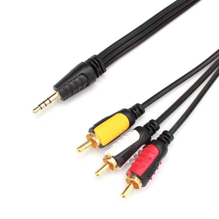 Gold plated 1 to 3 AV audio cable 3.5mm plug to 3 RCA lotus video cable TV cable customized length