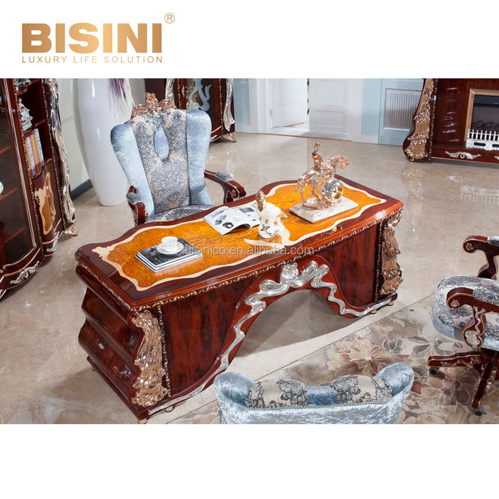 Elegant Italian Home Office Furniture, 24K Gilded And Wood Carved Executive Desk With Chair, Fancy Wood Veneer Writing Desk