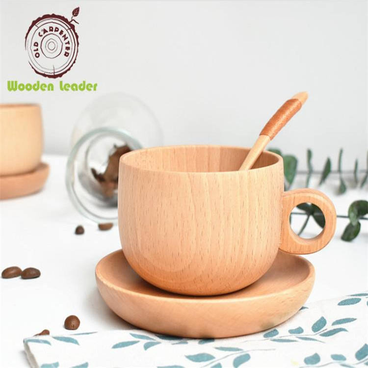 3pcs Spoon Cups Plate Set High-Grade Eco Friendly Natural Beech Wooden Tea Coffee Cup Set