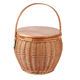 Hot Sale New Design one Handle folding Woven Oval round Wicker Customized Wholesale Picnic Basket set wooden lid with cooler bag