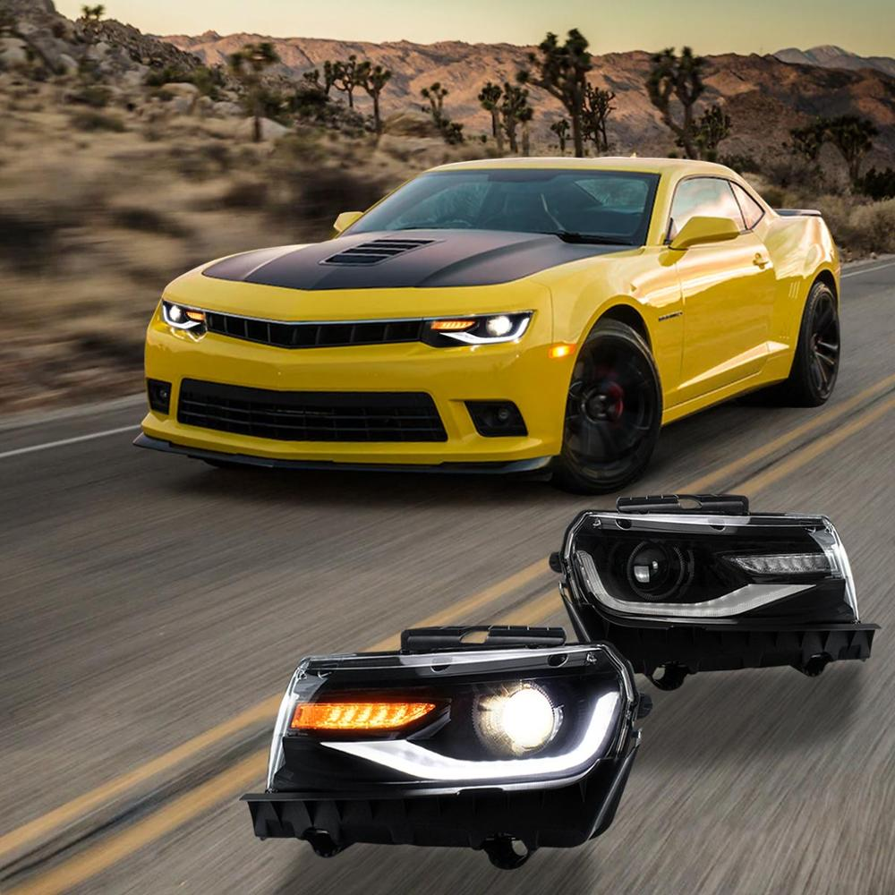 LED DRL Headlights For Camaro 6TH GEN 2014 2015 Front Lamps Sequential Dual Beam Assembly Headlight