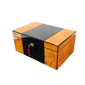 Piano Burl Wood Cedar Lining Cigar Humidor for 50 CT