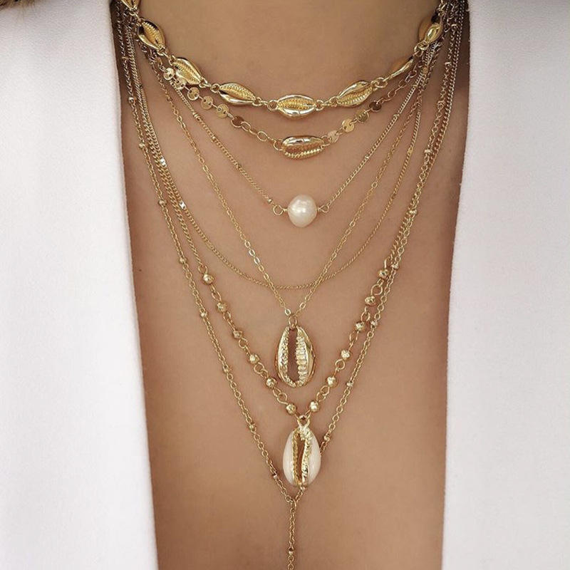 New Fashion Alloy Gold Clavicle Chain Shell Pearl Multilayer Necklace for Women Seashell Beach Boho Necklace Pendant Jewelry