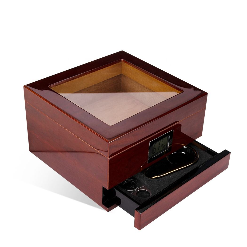 Wood Cigar Box Wholesale Modern High-end Glass Top Cedar Wooden Desktop Tobacco Humidor Cigar Box Wooden With Digital Hygrometer