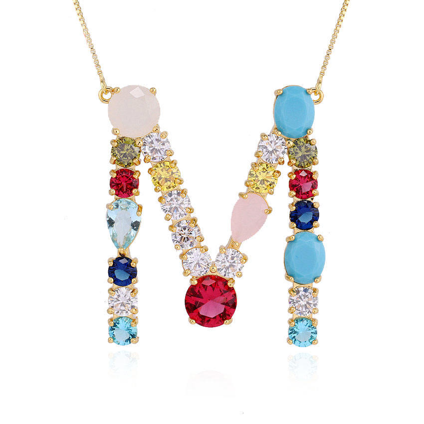 alphabet letter p initial gold plated cz pendant rainbow necklace 2019 foxi jewelry