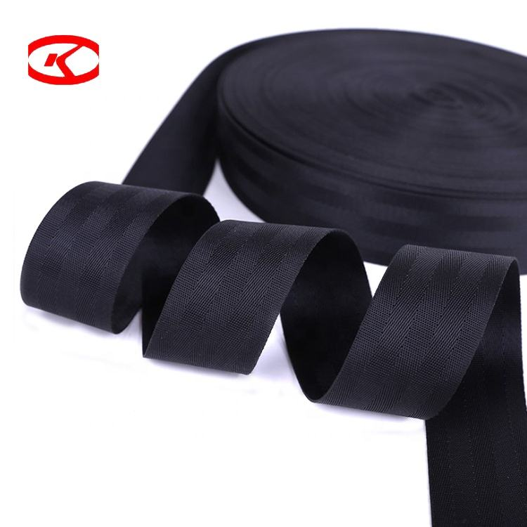 High-Strength Recycled Black Orange Woven 25mm To 48mm 100% Polyester Car Safety Seat Belt Webbing Strap