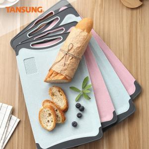 Tansung Kitchen Large Wheat Straw Plastic PP Food Cutting Board Chopping Board Set With Ginger Grinder