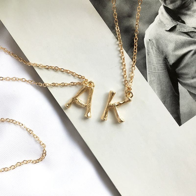 Wild&Free Small Gold Metal Bamboo 26 Letter Alphabet Pendants Alloy Small Bamboo Letters Necklaces Trendy A-Z jewelry for ladies