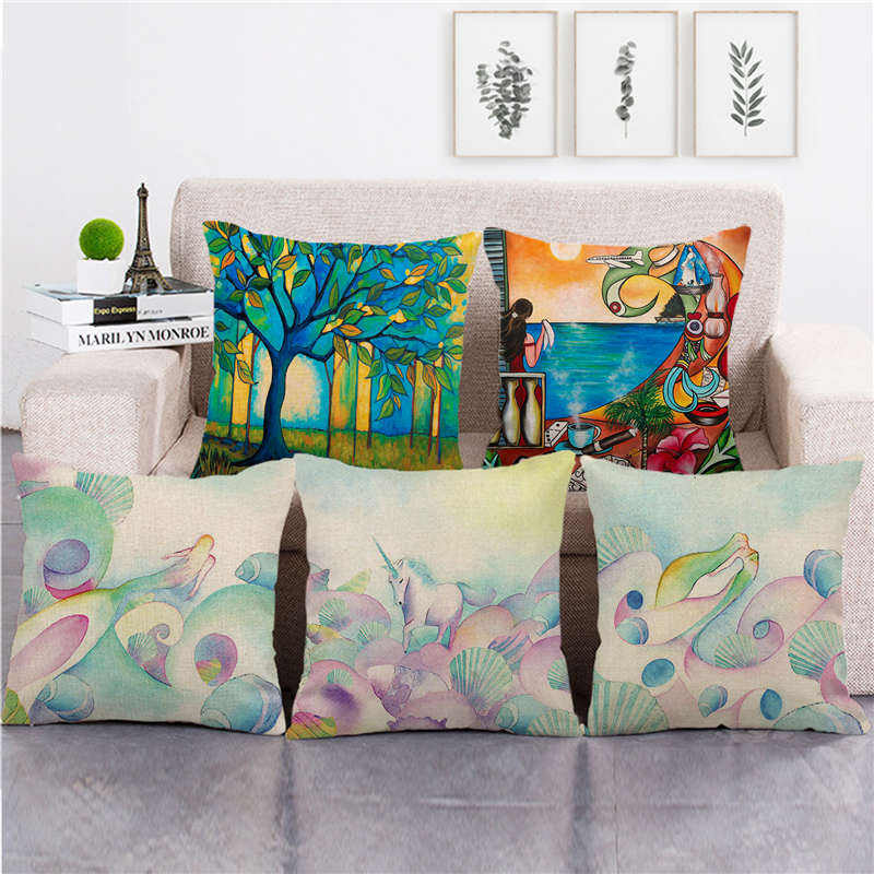 Tropical scenery and flamingos Amazon goods supplier linen cushion cover throw pillow cover decorative pillows