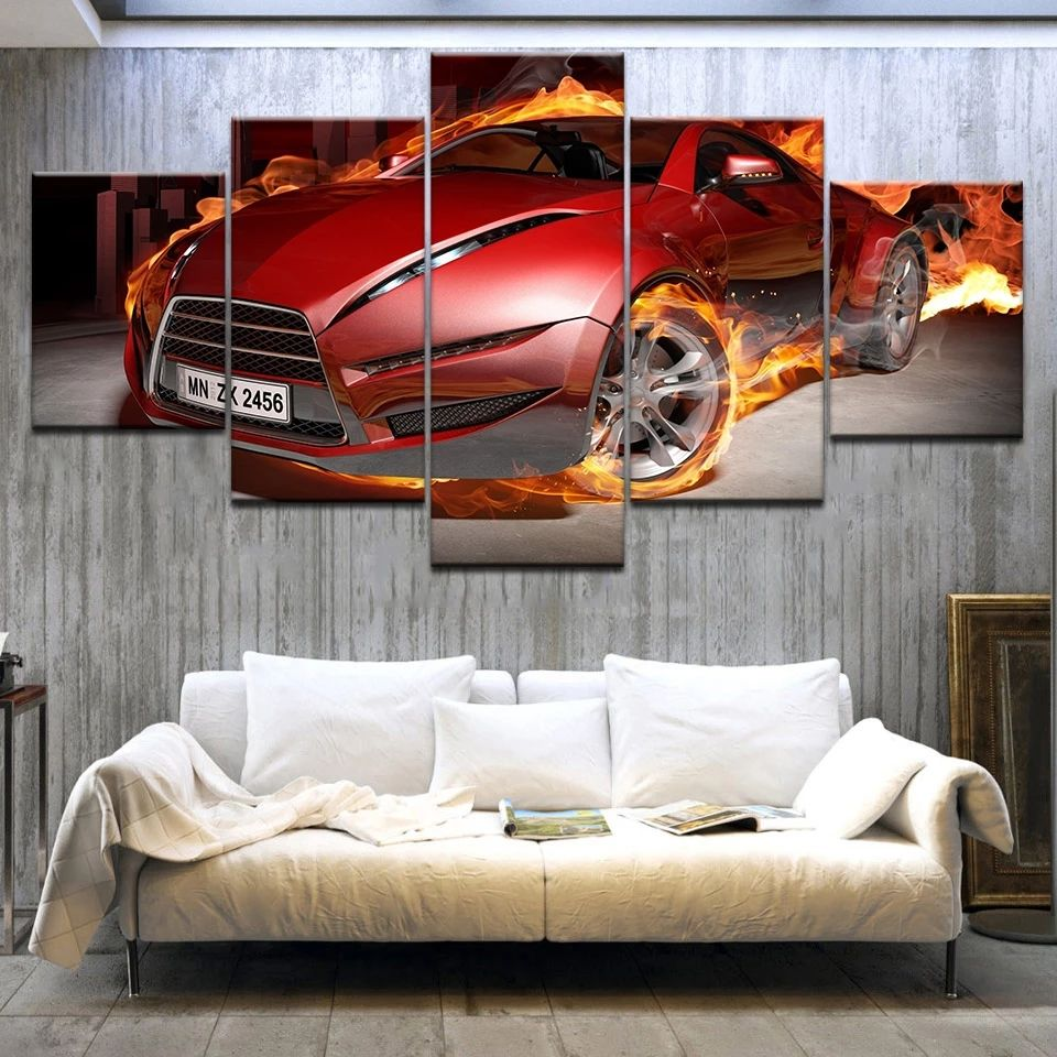 Moderne Canvas Poster Hd Print Muur Frame 5 Stuks Rode <span class=keywords><strong>Auto</strong></span> <span class=keywords><strong>Auto</strong></span> Show Olieverf Home Decoratie Modulaire Foto