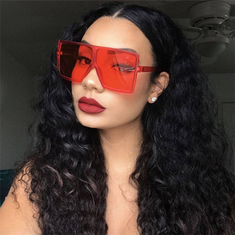 New Big One Piece Fashion Oversized Sunglasses Women Red Shades large Sun glasses