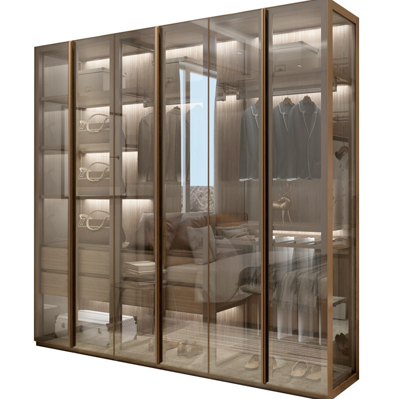 Modern Glass Door Wardrobe Closet