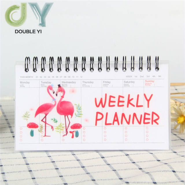 Benutzerdefinierte Cartoon Wöchentlich Planer cartoon flamingos spirale Notebook Agenda Filofax Kinder wöchentlich planer notebook