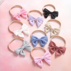 Wholesale nylon hair band bow children's elastic headband hair accessories